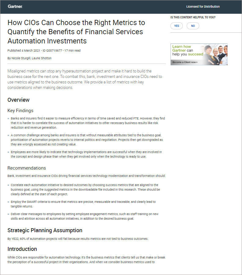 How CIOs Can Choose the Right Metrics to Quantify the Benefits of Financial Services Automation Investments